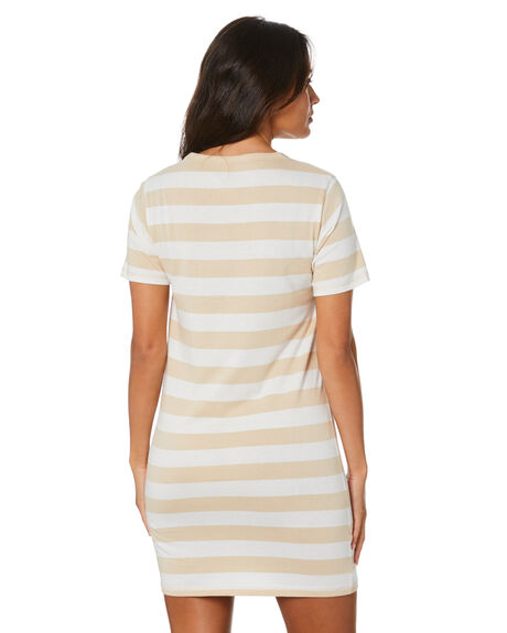 BEIGE WHITE STRIPE OUTLET WOMENS RPM DRESSES - 20SW14ABGWH