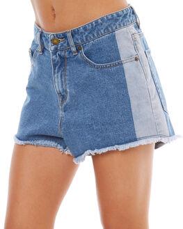 RETRO BLUE WOMENS CLOTHING ROXY SHORTS - ERJDS03146BKP0