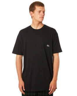 BLACK MENS CLOTHING STUSSY TEES - ST082001BLK