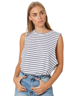 NAVY STRIPE WOMENS CLOTHING NUDE LUCY SINGLETS - NU22776SNVYS