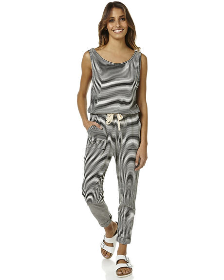 6f9b51ac178 The Bare Road Sports Womens Long Pant Playsuit - Tilly Black Stripe ...
