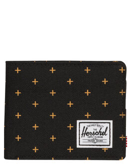 BLACK GRIDLOCK GOLD MENS ACCESSORIES HERSCHEL SUPPLY CO WALLETS - 10363-02097-OSBKGRI