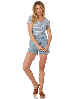 BLUE GRN WHT WOMENS CLOTHING ALL ABOUT EVE TEES - 6426004STR
