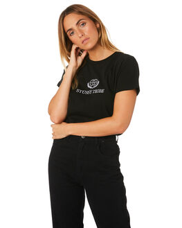 BLACK WOMENS CLOTHING STUSSY TEES - ST183015BLK