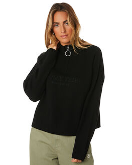 BLACK WOMENS CLOTHING STUSSY KNITS + CARDIGANS - ST196303BLK