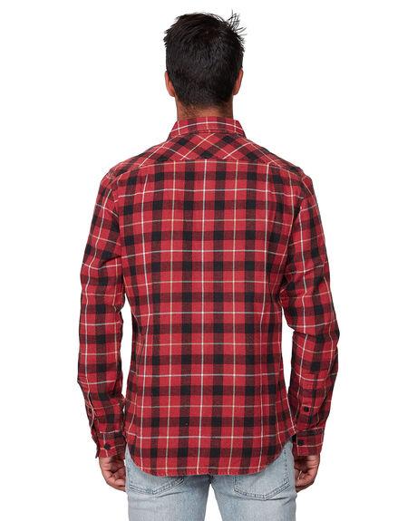 BRICK RED MENS CLOTHING RVCA SHIRTS - RV-R372190-BRD