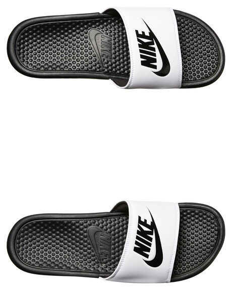 WHITE BLACK MENS FOOTWEAR NIKE SLIDES - SS343880-100M
