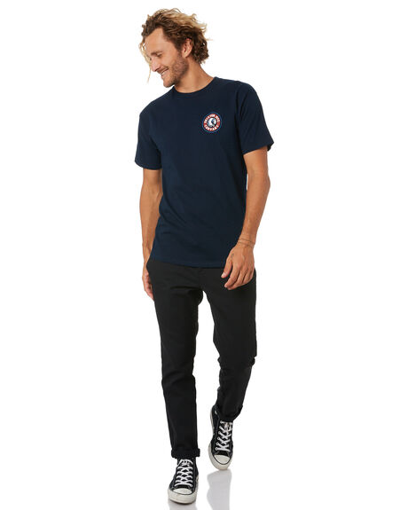 NAVY RED MENS CLOTHING BRIXTON TEES - 06519NVRED