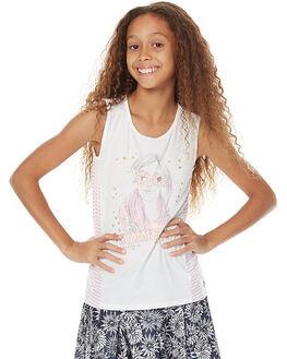 WHITE STRIPE KIDS GIRLS EVES SISTER SINGLETS - 9980092WHT