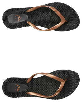 BLACK WOMENS FOOTWEAR RUSTY THONGS - FOL0196-KCR