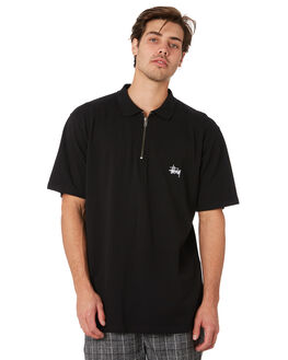 BLACK MENS CLOTHING STUSSY SHIRTS - ST092106BLK