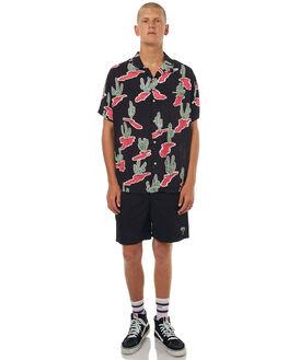 BLACK MENS CLOTHING STUSSY SHIRTS - ST071403BLK
