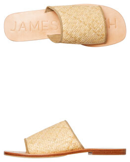 TAN WOVEN WOMENS FOOTWEAR JAMES SMITH SLIDES - 7517488TAN