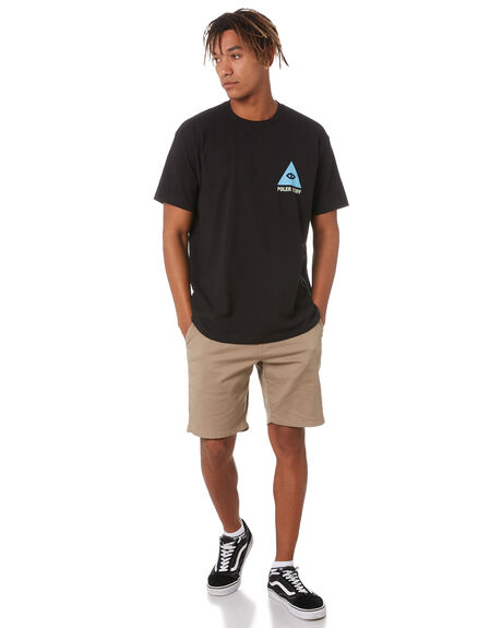 BLACK MENS CLOTHING POLER TEES - 213APM2005-BLK