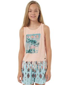 LIGHT NEON CORAL KIDS GIRLS EVES SISTER SINGLETS - 9900057NCRL