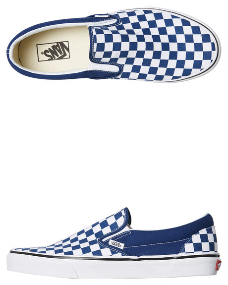 56ea9264f2f73b Vans Mens Classic Slip On Checkerboard Shoe - Blue