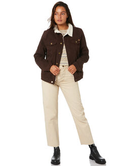 BROWN WOMENS CLOTHING THRILLS JACKETS - WTDP-223CBRN