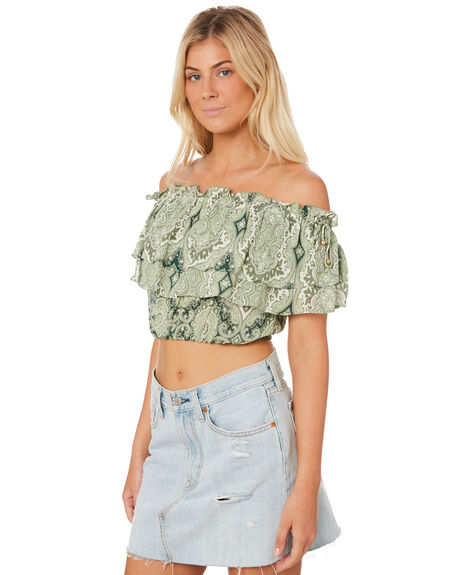 GREEN WOMENS CLOTHING TIGERLILY FASHION TOPS - T382038GRE
