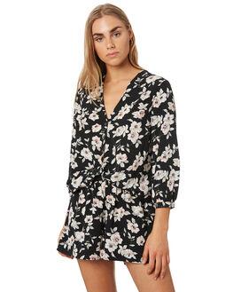 BLACK FLORAL PRINT WOMENS CLOTHING VOLCOM FASHION TOPS - B0541908BFP