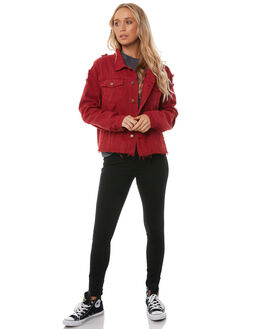 RED WOMENS CLOTHING THRILLS JACKETS - WTDP-203HRED