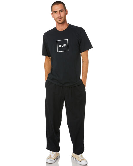 BLACK MENS CLOTHING HUF TEES - TS00507-BLACK
