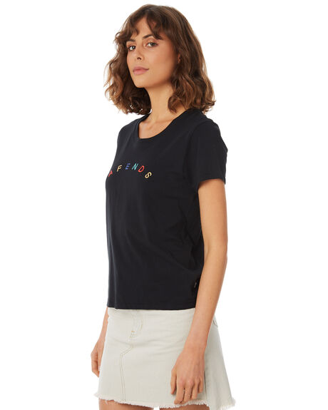 BLACK WOMENS CLOTHING AFENDS TEES - W183010-BLK