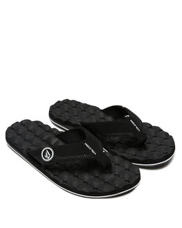 BLACK WHITE MENS FOOTWEAR VOLCOM THONGS - V0811520BWH