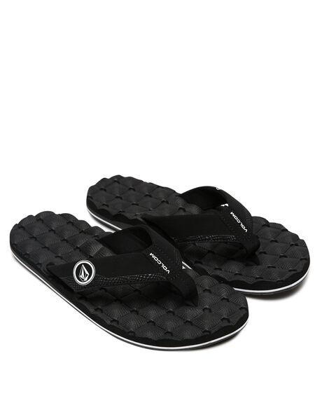 BLACK WHITE MENS FOOTWEAR VOLCOM THONGS - V0811520BWH