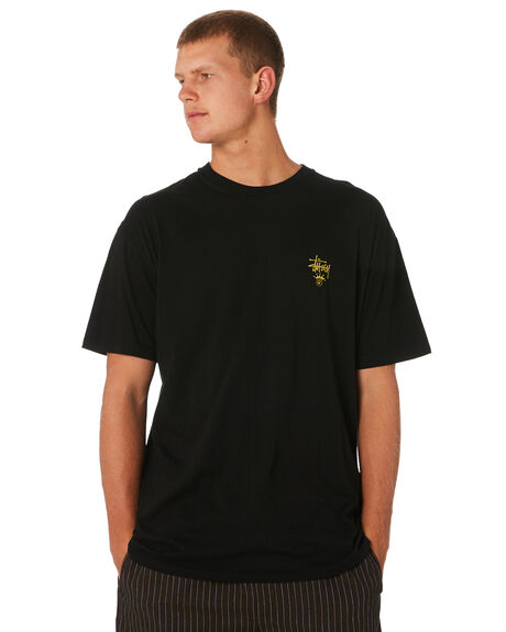 BLACK MENS CLOTHING STUSSY TEES - ST091001BLK