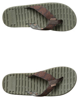 BROWN OLIVE MENS FOOTWEAR FREEWATERS THONGS - MO041BROV