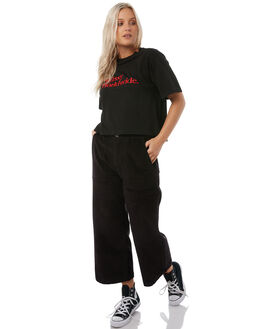 BLACK WOMENS CLOTHING STUSSY TEES - ST185001BLK