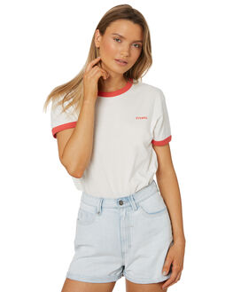 WHITE RED WOMENS CLOTHING THRILLS TEES - WTS8-130AMUL