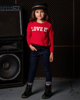 RED KIDS GIRLS ROCK YOUR KID JUMPERS + JACKETS - TGK195-LIRED
