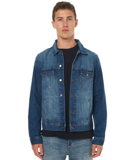 WORN MID BLUE MENS CLOTHING DR DENIM JACKETS - 1711132WMBKU