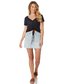 BLACK WOMENS CLOTHING ALL ABOUT EVE TEES - 6424026BLK