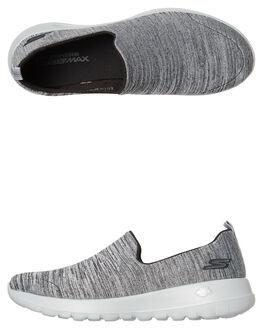 BLACK GREY WOMENS FOOTWEAR SKECHERS SLIP ONS - 15611BKGY
