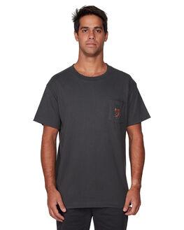PIRATE BLACK MENS CLOTHING RVCA TEES - RV-R107057-PTK