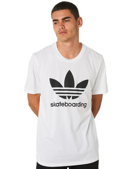 WHITE BLACK MENS CLOTHING ADIDAS TEES - CW2347WHT
