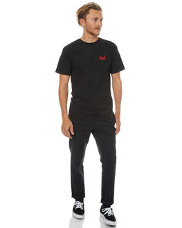 BLACK MENS CLOTHING HUF TEES - TS63026BLK