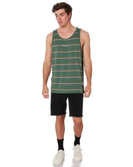 SAGE STRIPE MENS CLOTHING RPM SINGLETS - 9SMT09B1SGEST