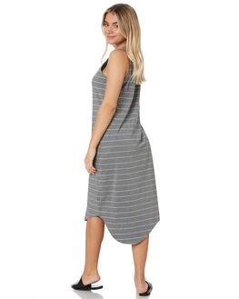 BLACK & WHITE STRIPE WOMENS CLOTHING SILENT THEORY DRESSES - 6061028WHT
