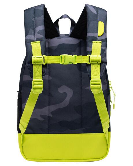 NIGHT CAMO LIME KIDS BOYS HERSCHEL SUPPLY CO BAGS + BACKPACKS - 10312-04087-OSNCMO