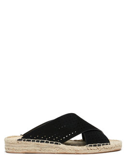 BLACK NUBUCK WOMENS FOOTWEAR THERAPY FASHION SANDALS - SOLE1133BLK