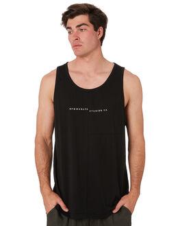 BLACK MENS CLOTHING RPM SINGLETS - 9SMT08A1BLK