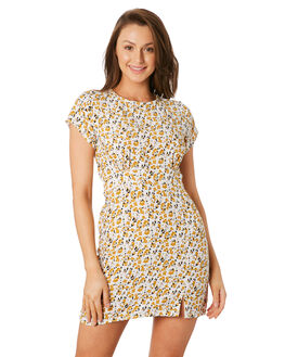 DESERT FLORAL YELLOW WOMENS CLOTHING RUE STIIC DRESSES - RWS-19-22-1DSRTY