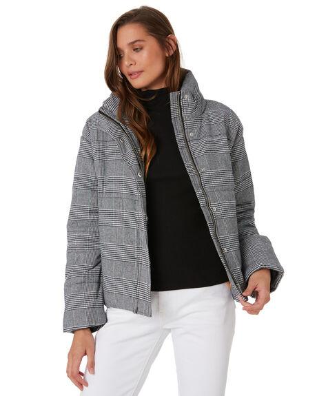 GREY PLAID WOMENS CLOTHING COOLS CLUB JACKETS - 507-CW2GRY