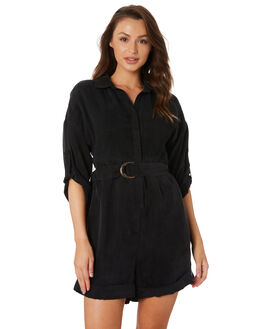 ONYX BLACK WOMENS CLOTHING SANCIA PLAYSUITS + OVERALLS - 884A_BLK