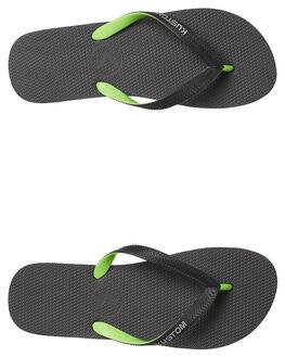 BLACK GREEN MENS FOOTWEAR KUSTOM THONGS - 4984207BGRN