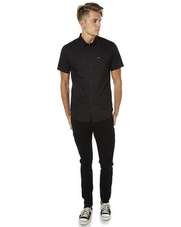 BLACK BLACK MENS CLOTHING RVCA SHIRTS - R141211__BKBK