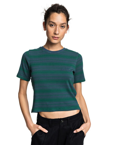 ORION BLUE WOMENS CLOTHING QUIKSILVER TEES - EQWKT03056-BRG3